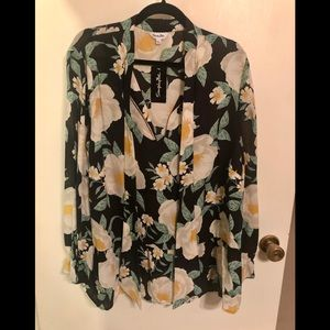 Simply Be Tie Neck Floral Blouse NWT PLUS